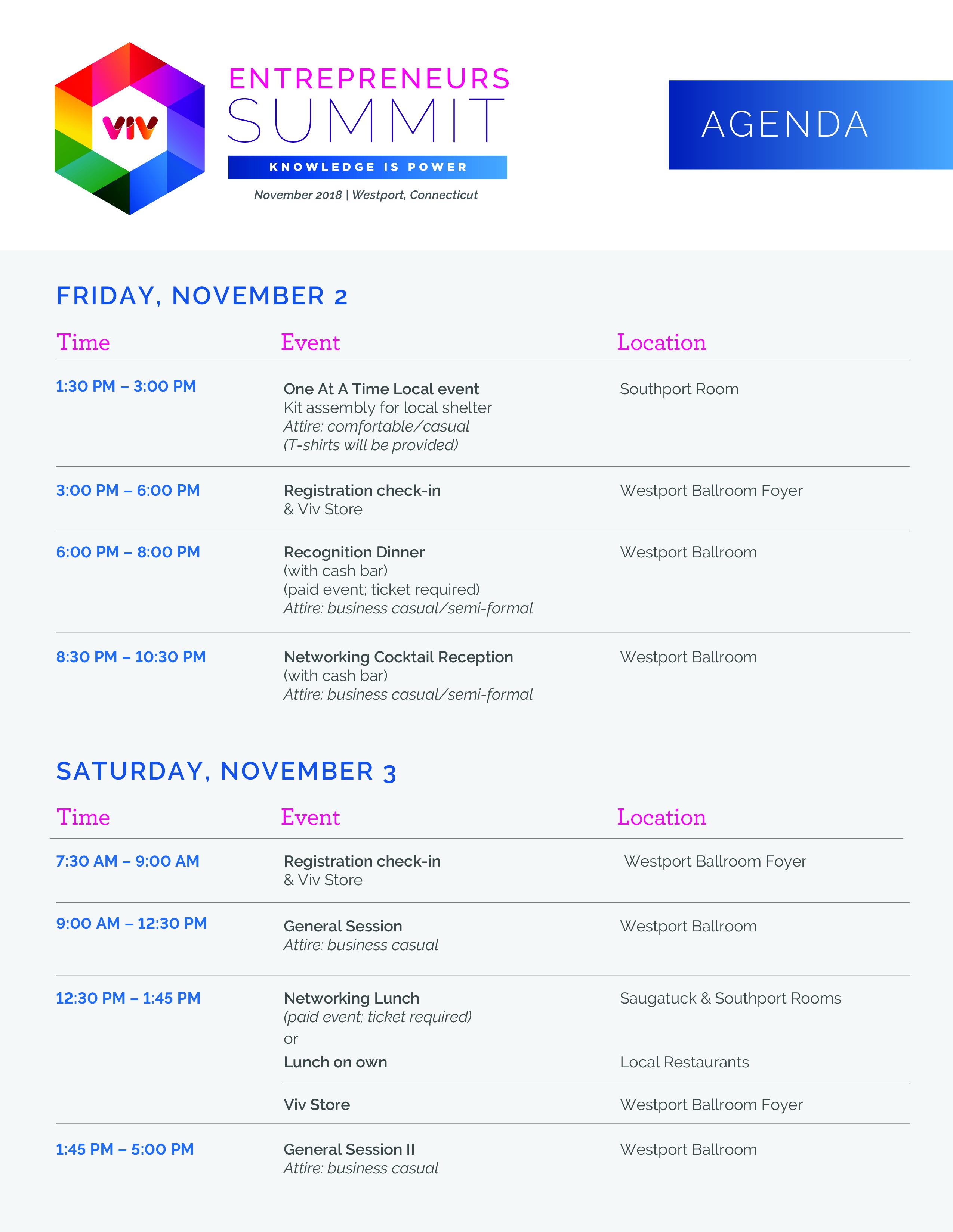 Entrepreneurs Summit agenda